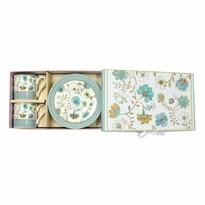 Zestaw prezentowy porcelanowej filiżanki z talerzykiem Niebieskie kwiaty 100 ml, 2 szt.