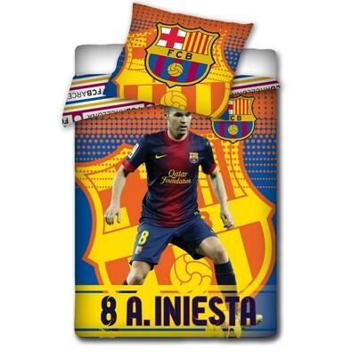 Bavlněné povlečení FCB Iniesta, 140 x 200 cm, 70 x 80 cm
