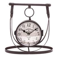 Ceas metalic de masă, cu două fețe, 30 x 29 cm