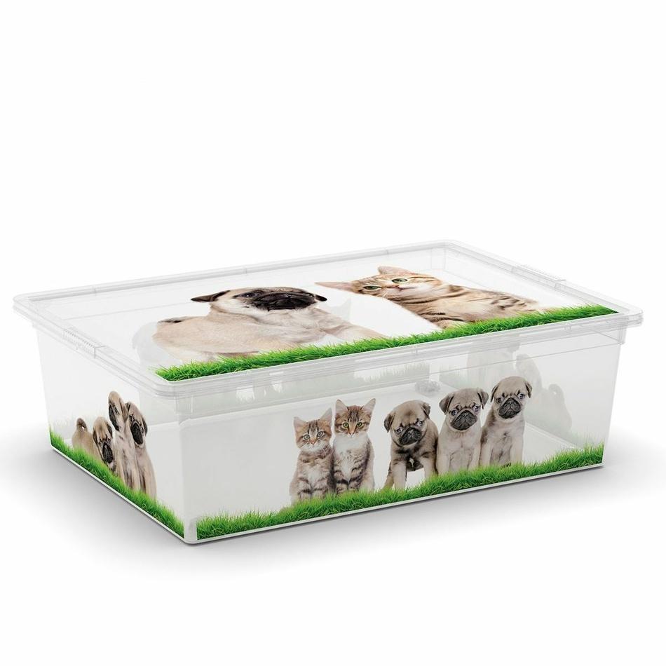 KIS Plastový úložný box C-Box Puppy & Kitten L s kolečky 27 L