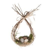 Proutěná velikonoční dekorace Hnízdo s vajíčky, 16 x 31 cm