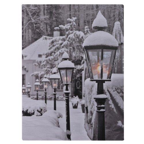LED obraz na plátně Snowy Lamps, 40 x 30 cm