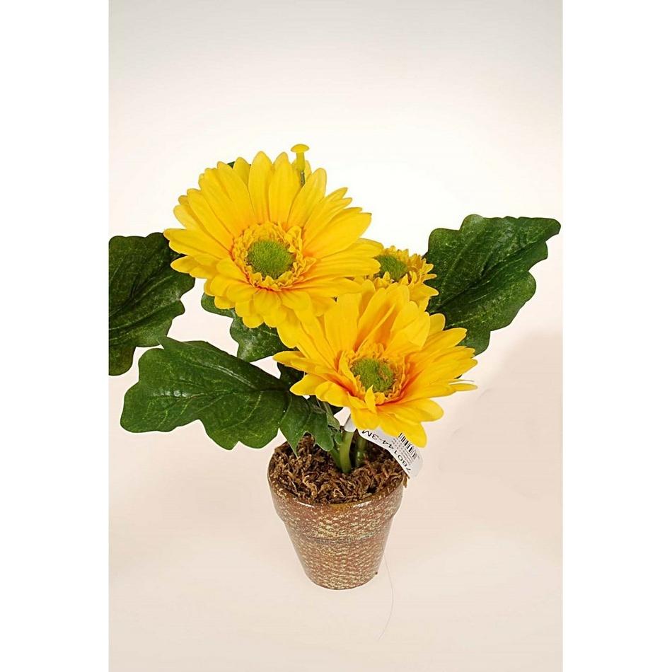 Umelá kvetina gerbera v kvetináči, žltá, HTH