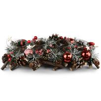 Neige adventi rattan gyertyatartó, piros, 40 cm