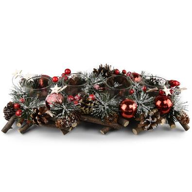 Adwentowy świecznik rattanowy Neige czerwony, 40 cm