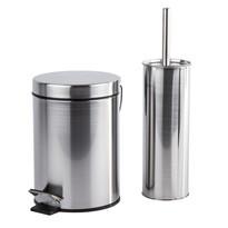 Metal 2 részes WC készlet, ezüst