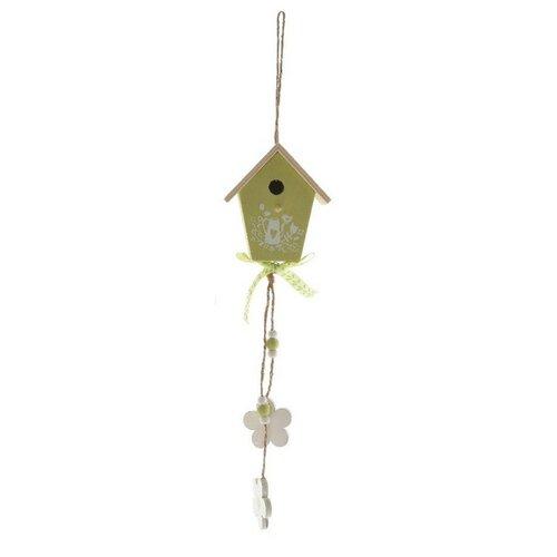 Dekorační ptačí budka Spring zelená, 25 cm
