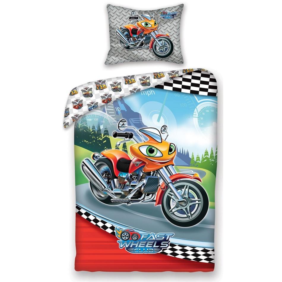 Halantex Dětské bavlněné povlečení Fast Wheel Club moto, 140 x 200, 70 x 90 cm