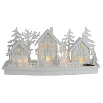 Drevená LED dekorácia Vianočná dedinka, 45 x 14 x 20 cm
