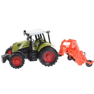 Traktor s přívěsem oranžová, 40 cm