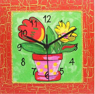Nástěnné hodiny Veselý květináč