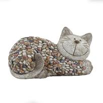Dekoracja ogrodowa Kot z kamykami, 32 x 18 x 18 cm