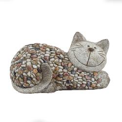 Zahradní dekorace Kočka s kamínky, 32 x 18 x 18 cm