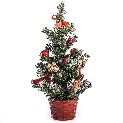 Vianočný stromček ozdobený v. 30 cm, červená
