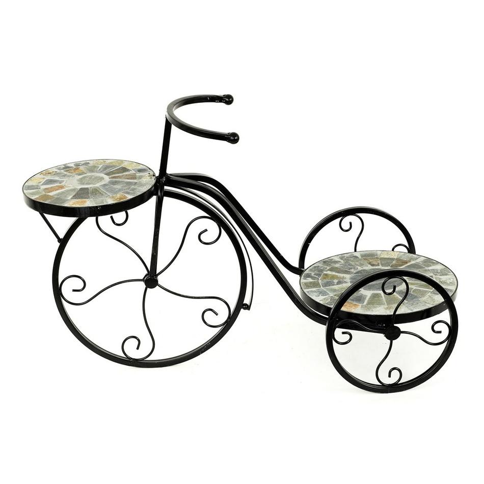Stojan na kvety Bicykel čierna, 67 cm