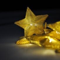 Solight Svetelná LED reťaz s 10 zlatými hviezdami, 1 m, teplá biela