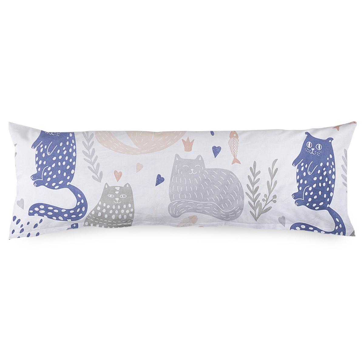 4Home Povlak na Relaxační polštář Náhradní manžel Nordic Cats, 55 x 180 cm