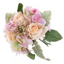 Silvia művirág csokor rózsával és hortenziával, 28 cm