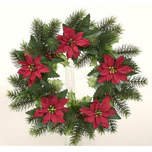 Dekoratívny vianočný veniec poinsettia, pr. 28 cm, zelená