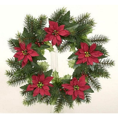 Dekorativní vánoční věnec poinsettia, pr. 28 cm, zelená