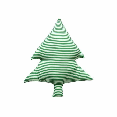 Domarex Vianočný tvarovaný vankúšik Smrčok zelené prúžky, 40 cm