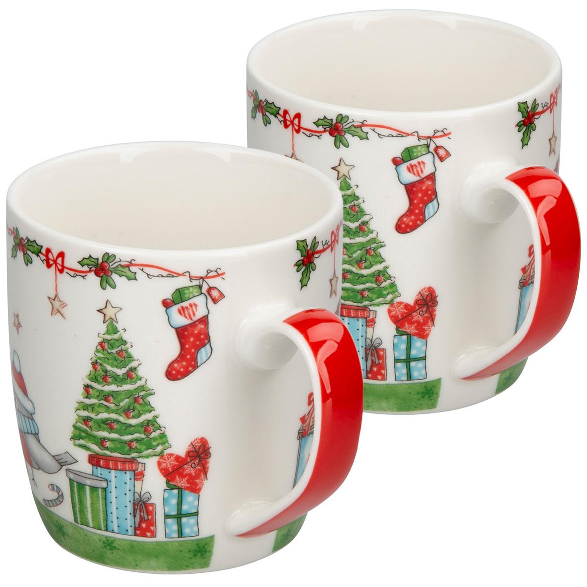 Altom Porcelánový hrnek Holly Christmas green 300 ml, 2 ks