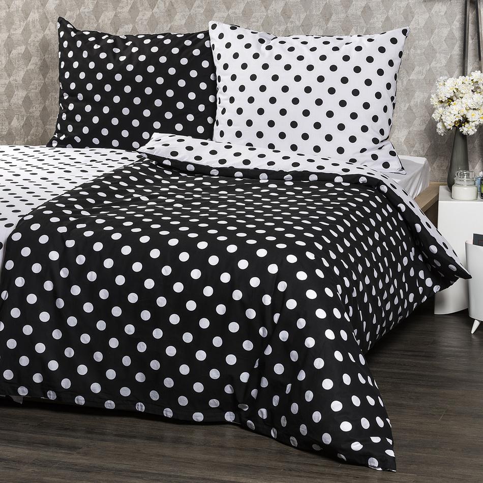 4Home pamut ágynemű, fekete pöttyös, 140 x 220 cm, 70 x 90 cm, 140 x 220 cm, 70 x 90 cm