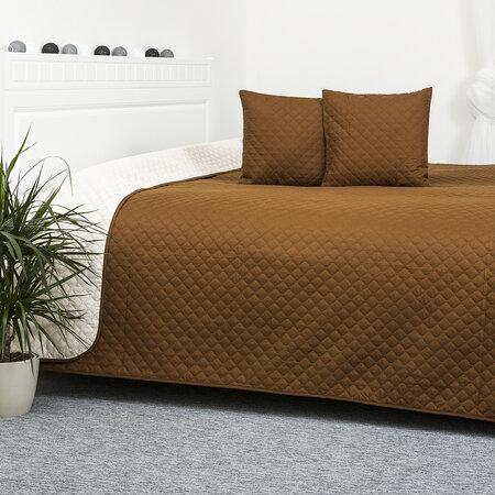 4Home Prehoz na posteľ Doubleface hnedá/krémová, 220 x 240 cm, 2x 40 x 40 cm