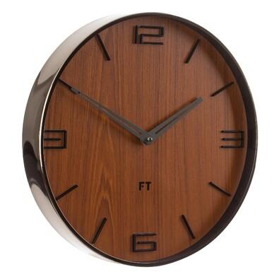 Future Time FT3010TT Flat walnut Designerski zegar ścienny, śr. 30 cm