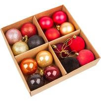 Set ornamente de Crăciun, Melide, roșu, 16 buc., diam. 6 cm
