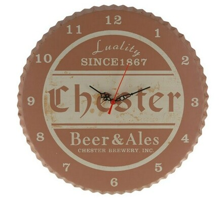 Nástěnné hodiny Chester plastové hnědé