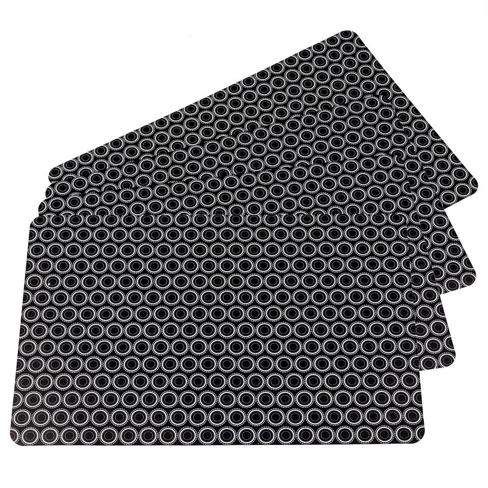Koopman Prostírání Kruhy černá, 28 x 43 cm, sada 4 ks