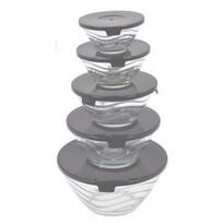 5 részes fedeles üvegtálka készlet