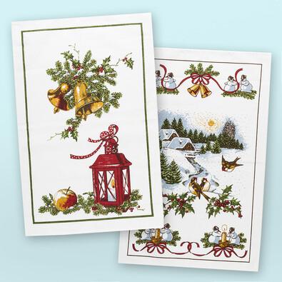 Vánoční utěrky Sněhuláci a Lucerna, 45 x 65 cm, sada