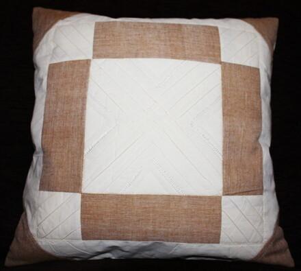 Bavlněný povlak na polštářek, 40 x 40 cm, hnědý, bílá + hnědá, 40 x 40 cm