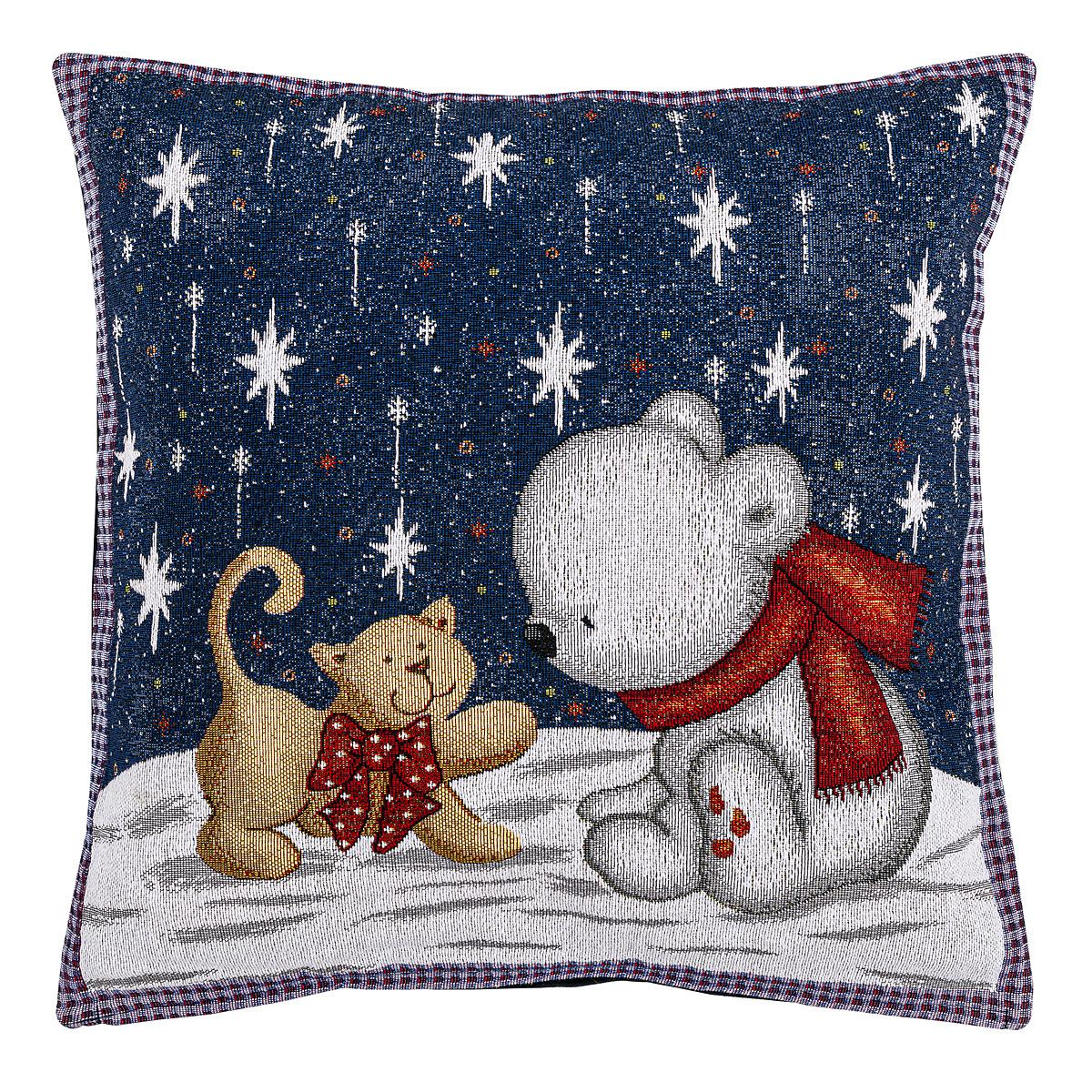BO-MA Trading Vánoční povlak na polštářek Kočka a medvěd, 45 x 45 cm
