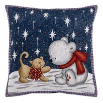 Vánoční povlak na polštářek Gobelín Kočka a medvěd,