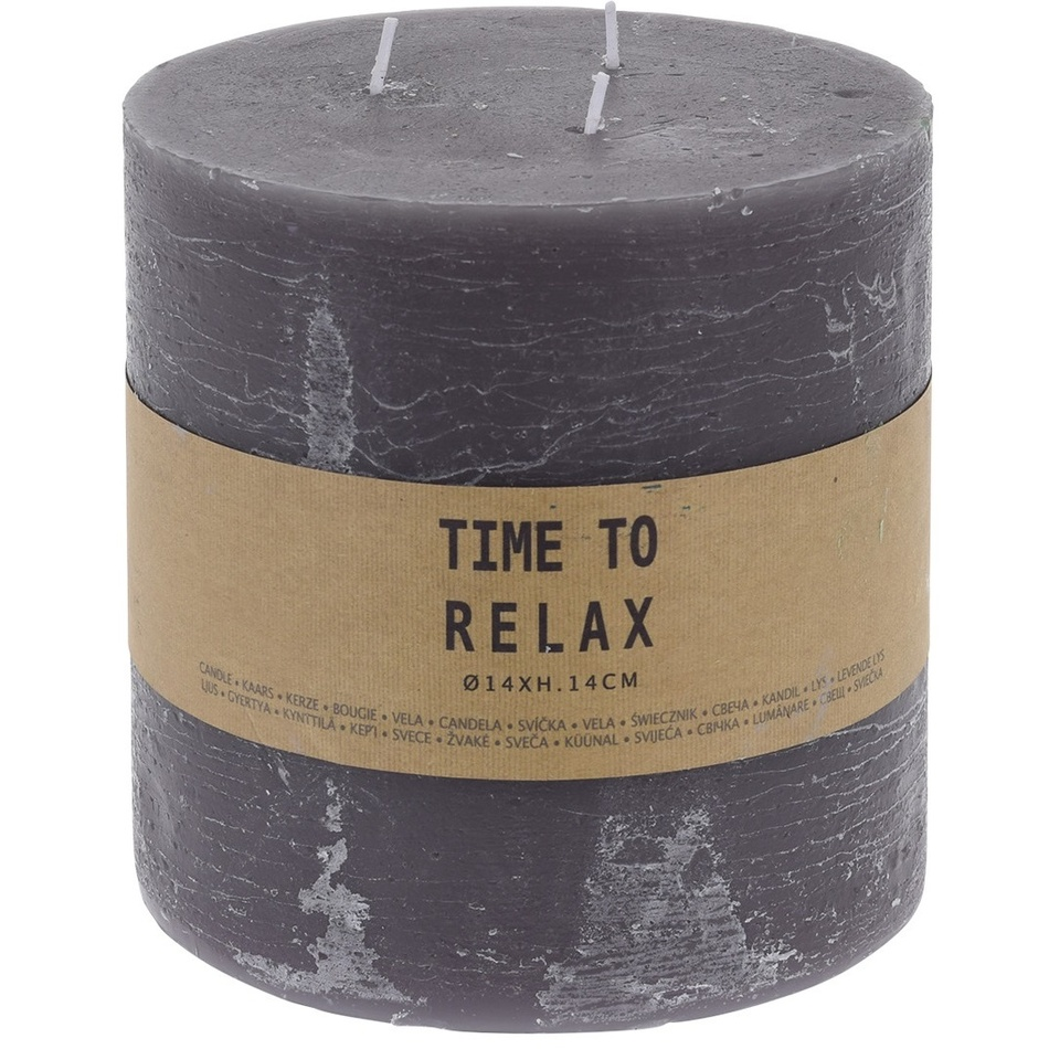Dekorativní svíčka Time to relax šedá, 14 cm