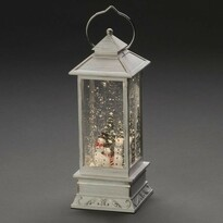 Dekorativní LED lucerna se sněhulákem, bílá