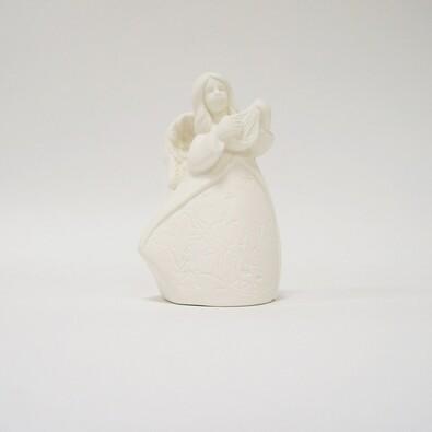 Svítící anděl s LED, 7 x 5,5 x 11,5 cm, bílá