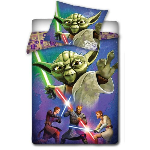 Detské bavlnené obliečky Star Wars - Majster Yoda, 140 x 200 cm, 70 x 80 cm