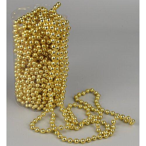 Karácsonyi gyöngyös girland, arany, 15 m