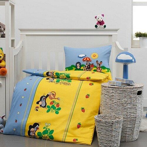 Detské bavlnené obliečky do postieľky Krtko a jahôdky, 100 x 135 cm, 40 x 60 cm
