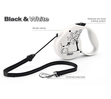 vodítko black & white ornament flexi, 5 m