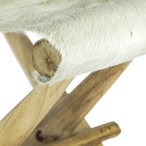 Dřevěná skládací židlička Teak bílá, 41 x 30 x 40 cm