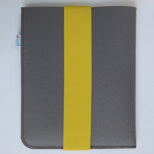 Fragile puzdro na iPad 21 x 26 cm s žltou gumičkou