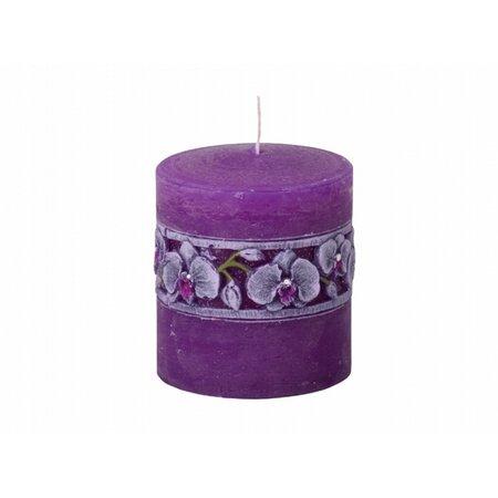 Vyřezávaná svíčka Fialová orchidej, válec