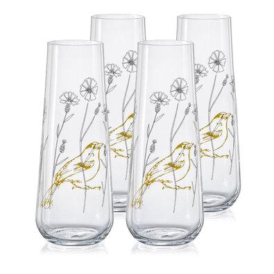 Crystalex 4-częściowy komplet szklanek na prosecco Stemless 250 ml, łąka