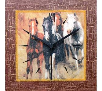 Nástěnné hodiny divoké koně