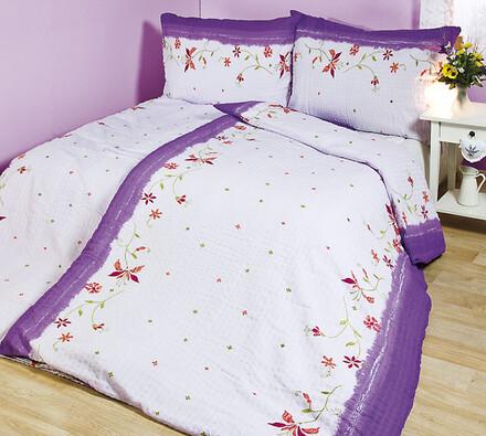 Krepové povlečení Klasik fialová, 140 x 200 cm, 70, bílá + fialová, 140 x 200 cm, 70 x 90 cm